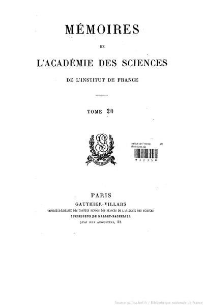File:Mémoires de l'Académie des sciences, Tome 20.djvu