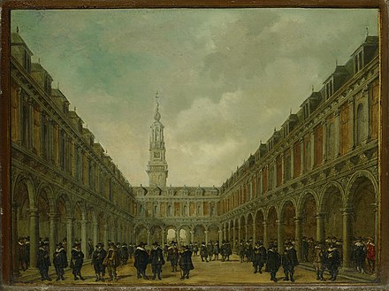 Courtyard of the Amsterdam Stock Exchange (or Beurs van Hendrick de Keyser in Dutch), the world's first formal stock exchange. The first formal stock market in its modern sense, was a pioneering innovation by the VOC managers and shareholders in the early 1600s. MG 056-De Beurs van Hendrick de Keyser.jpg