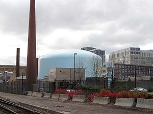 MIT Nuclear Research Reactor - MIT Nuclear Reactor Laboratory in Cambridge, Massachusetts, with Tower Tech cooling tower in the foreground