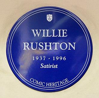 Mornington Crescent (game) - A blue plaque commemorating Willie Rushton in Mornington Crescent station