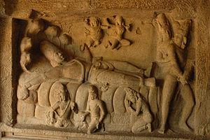 Cave Temples of Mahabalipuram - Vishnu in a reclining pose lying on a serpent in Mahishasuramardini cave temple.