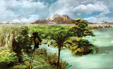 A tropical environment with a lake, palm trees and conifers, and in the background a tall mountain