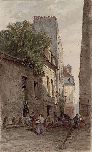 Adrien Dauzats - Image: Maison du diacre François de Pâris, rue des Bourguignons, par Adrien Dauzats