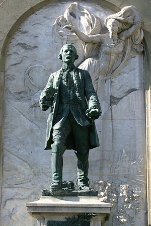 Early Modern Switzerland - Statue of Major Davel in front of the Château Saint-Maire in Lausanne