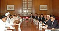 Manmohan Singh meeting with the CEOs Steel Authority of India Limited, Tata Steel, RINL, JSW, Essar Steel, Ispat Industries Ltd. and representative of Jindal Steel & Power Limited, in New Delhi on May 07, 2008.jpg