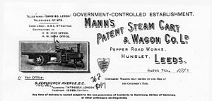 Mann's Patent Steam Cart and Wagon Company - Letterhead from Mann's Patent Steam Cart and Wagon Company
