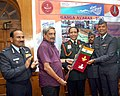 Manohar Parrikar flagging-in the Ganga Expedition 'Ganga Avahan-2015' team, in New Delhi. The Chief of the Air Staff, Air Chief Marshal Arup Raha and the Commandant DSSC, Lt. General S.K. Gadeock are also seen.jpg