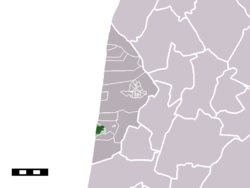 The town centre (darkgreen) and the statistical district (lightgreen) of Egmond aan Zee in the municipality of Bergen (North Holland)