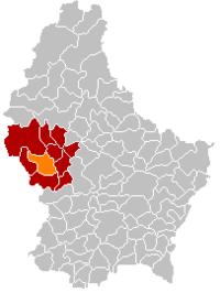 Map of Luxembourg with Redange highlighted in orange, the district in dark grey, and the canton in dark red