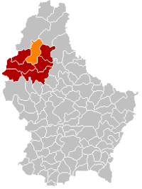 Map of Luxembourg with Wiltz highlighted in orange, the district in dark grey, and the canton in dark red
