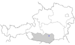 Map of Austria, position of Guttaring highlighted