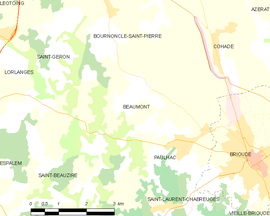 Mapa obce Beaumont