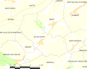 Aix-en-Issart - Map of the commune and adjacent places
