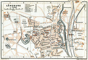 Lüneburg - Lüneburg street map around 1910