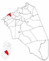 Delanco Township highlighted in Burlington County. Inset map: Burlington County highlighted in the State of New Jersey.