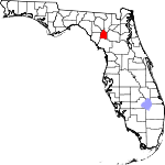 A state map highlighting Gilchrist County in the corner part of the state. It is small in size.