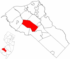 Harrison Township highlighted in Gloucester County. Inset map: Gloucester County highlighted in the State of New Jersey.