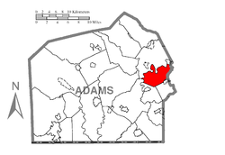 Map of Adams County, Pennsylvania highlighting Hamilton Township