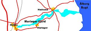 Mariager Fjord - Map of Mariager Fjord with major towns and roads
