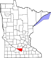 Map of Minnesota highlighting Nicollet County.svg