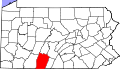 Map of Pennsylvania highlighting Bedford County.svg