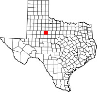 Map of Texas highlighting Fisher County