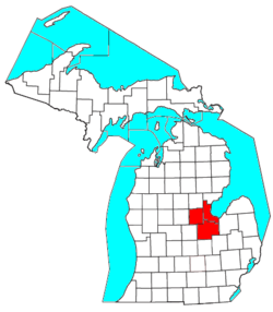 Map showing the Saginaw, Midland, and Bay City Metropolitan Area.