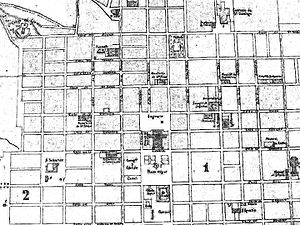 History of Guatemala City - Map of the city in 1868 showing the Carrera Theater