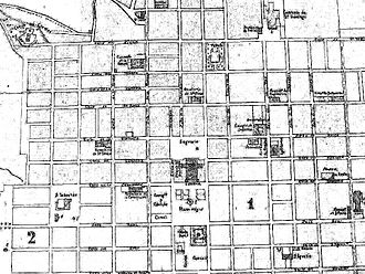 National Palace (Guatemala) - 1868 Guatemala City map.  On the left side of the Plaza de Armas is the Cabildo -City Hall- and the cárcel -jail- on the lot that later would be used to build the National Palace.