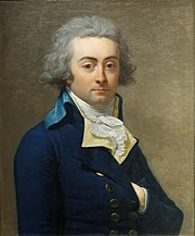 Painting of a gray-haired man with round eyes with his left hand tucked into his coat like Napoleon. He wears a dark blue coat with two rows of buttons. A frilled shirt front is exposed at the collar.