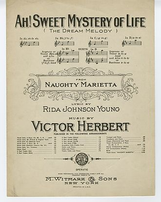 "Naughty Marietta (operetta) - Sheet music cover to ""Ah! Sweet Mystery of Life"""
