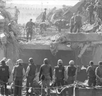 1983 Beirut barracks bombings - Marine Barracks in Beirut moments after bombing, October 23, 1983