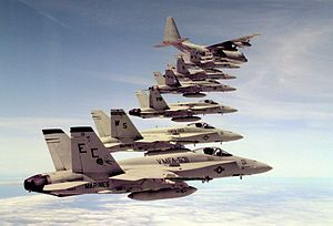 Marine Air Group 11 Hornets with KC-130R over MCAS EL Toro 1992.JPEG