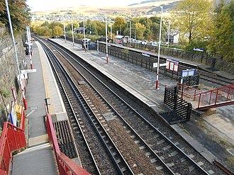 Marsden railway station - The view from the road bridge