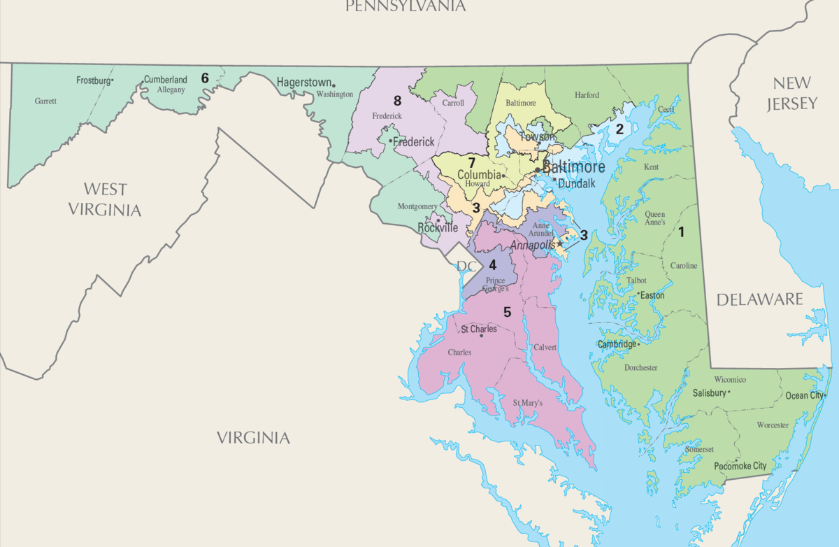Marylands Congressional Districts Wikipedia - Maryland printable map