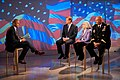 "Matt Lauer, far left, the host of NBC's ""The Today Show,"" speaks to NFL Commissioner Roger Goodell, center, Dr. Story Landis, center right, the director of the National Institute of Neurological Disorders 120905-A-AO884-016.jpg"