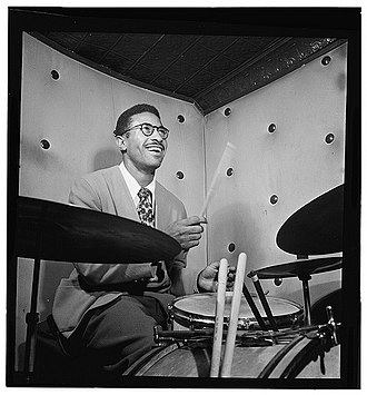 Max Roach - Max Roach, Three Deuces, NYC, ca. October 1947. Photography by William P. Gottlieb.