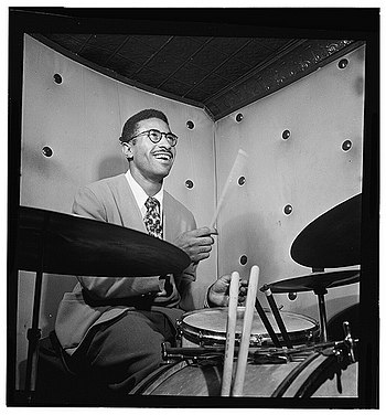 English: Max Roach, Three Deuces, NYC, ca. Oct...