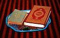 Meczet w Kruszynianach Koran modlitewnik i subha.jpg