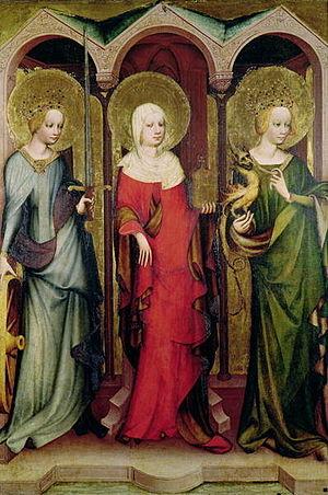Třeboň Altarpiece - Reverse, showing saints Catherine, Mary Magdalene and Margaret
