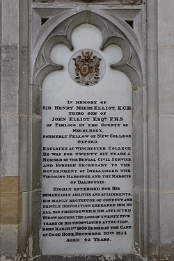 Memorial to Henry Miers Elliot in Winchester Cathedral.jpg