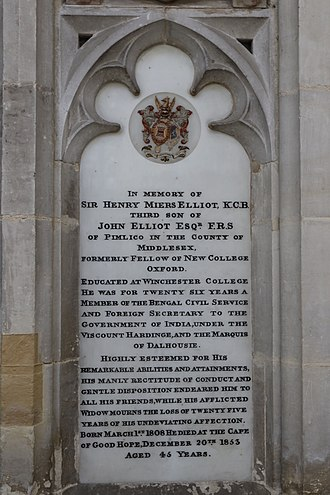Henry Miers Elliot - Memorial in Winchester Cathedral