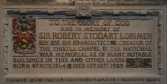 Robert Lorimer - Memorial in St. Giles' Cathedral