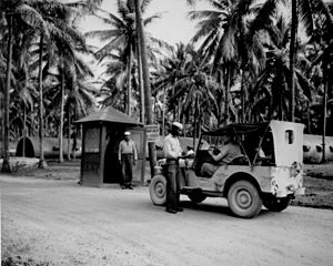 Espiritu Santo - ID check at the entrance to the base during World War II