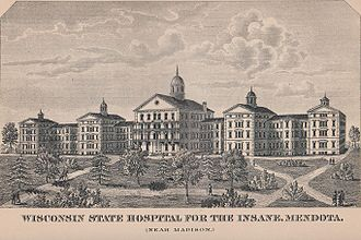 Mendota Mental Health Institute - An early illustration of the Mendota Kirkbride plan facility, from the 1885 edition of the Wisconsin Blue Book.