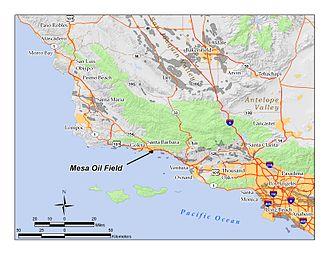 Mesa Oil Field - The Mesa Oil Field in Santa Barbara County, California. Other oil fields are shown in light gray.