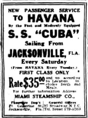 SS Yorktown (1894) - December 4, 1920 advertisement in New York Evening Post.