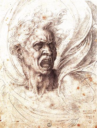 Soul - The Damned Soul. Drawing by Michelangelo Buonarroti c. 1525