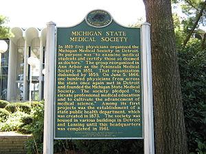 Michigan State Medical Society - Michigan Historic Site marker