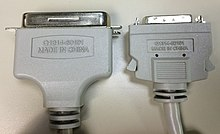 mini-centronics 36-pin male connector (right) with micro ribbon 36-pin male centronics  connector (left)